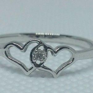 Diamond Heart Ring 10kt White Gold Sizes 10-13